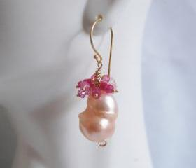 Rare AAA FLAMEBALL Baroque cultured Pink fresh water pearl and shaded Ruby Earrings