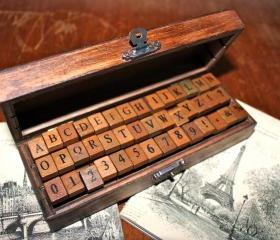 Wooden Rubber Stamps Alphabet and Numbers