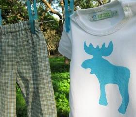 Baby Clothing Set - Turquise Moose