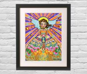 Dawn Angel Mexican Folk Art Print Calavera Voodoo Sugar Skull illustration painting