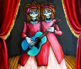 Pop Surrealist, Day of the Dead, Steampunk art print - Twins Guitar Carnival Art print