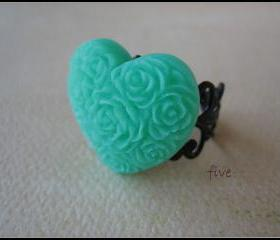 Green Heart on Black Filigree Ring - Adjustable - Jewelry by FIVE