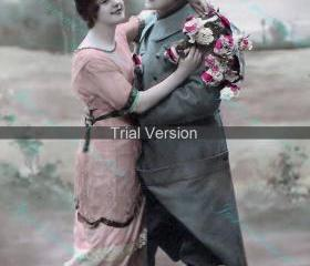 1045 Hello young lovers 300 dpi original French image - brilliant for Valentines/Birthday