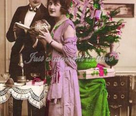 Digital download charming 1927 vintage French Christmas card image