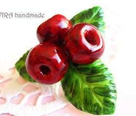 Cute realistic cherries with leafs brooch