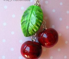 Cute realistic cherry with leaf necklace