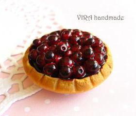 Cute realistic cherry pie magnet