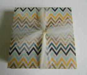 Fall Inspired Chevron Print Tile Coasters