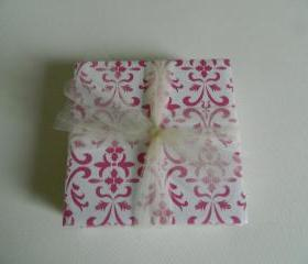 Pink and White Damask Print Tile Coasters