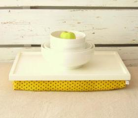 Wooden Laptop Lap Desk or Breakfast serving Tray - Ecru white with Yellow, Black polka dot fabric