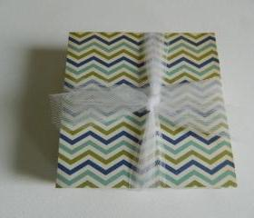 Blue and Green Chevron Coasters