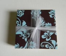 Brown and Aqua Flourish Coasters