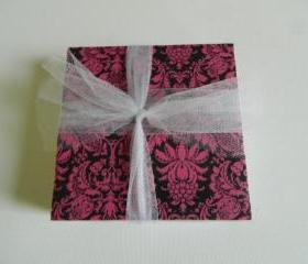 Pink and Black Damask Tile Coasters