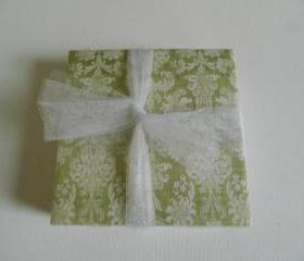 Green and Beige Damask Tile Print Coasters