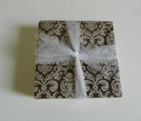 Brown and Beige Damask Print Tile Coasters