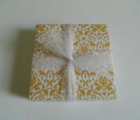 Yellow and White Damask Tile Print Coasters