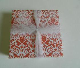 Orange and White Damask Print Tile Coasters
