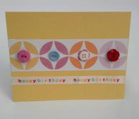 Handmade Birthday Geometric Button Greeting Card with Envelope