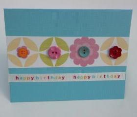 Handmade Birthday Geometric Button Greeting Cards with Envelopes