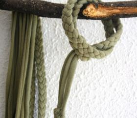 Recycled T-shirt braided adjustable bracelet: green, khaki. Handmade.