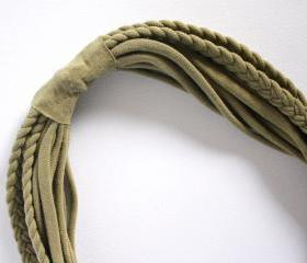 Recycled T-shirt braided necklace: green, khaki. Handmade.