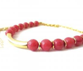Minimal Chic Coral Gemstone Bar Necklace, Gold Bar and Gold Plated Disc Necklace, Gold Plated Handmade Beaded Necklace, Bridesmaid Jewelry