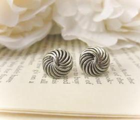 Vintage Button Earrings, Silver spiral earrings, Vintage earrings,silver, spiral, studs, post, summer trends