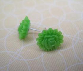 Lime Flower Post Earrings
