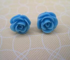 Blue Flower Post Earrings