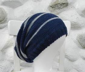 Knit hat - Slouchy knit hat - Slouchy beanie- Knitted Beanie hat - Slouch hat - Stripped knit hat - Beige- Dark blue -Grey