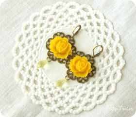 Ines, Mustard rose filigree earrings, Autumn fashion