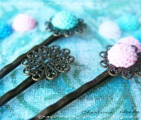 84 Filigree Bobby Pins Hair ornaments Antique Bronze, Round, 16x54mm, Hole: 1mm