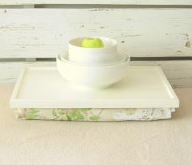 Wood Breakfast serving or Laptop Lap Desk- Off white with White and Green Vintage flower printed Linen Pillow