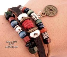 Vintage coin drop leather bracelet 
