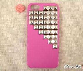Studded iPhone 5 case, silver pyramid studs iPhone 5 case, new apple iPhone 5 case, rose red iPhone 5 case, iPhone 5 cover