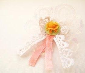 Ribbon rosette brooch with peony cameo - Olivia (orange)
