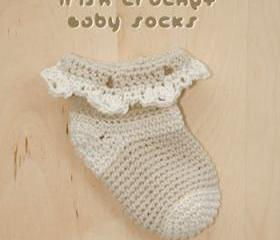 Irish Crochet Baby Socks PATTERN, SYMBOL DIAGRAM (pdf)
