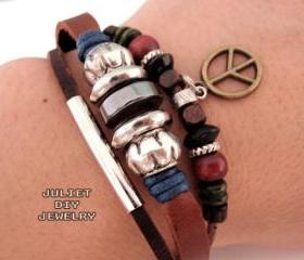 Peace sign leather bracelet, peace sign charm bracelet 