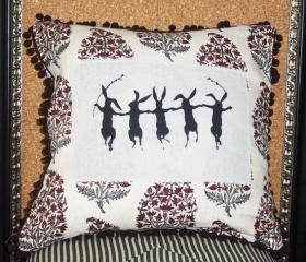 Decorative pillow cushion cover with paisley linen and dancing rabbit screenprint and brown pom pom trim