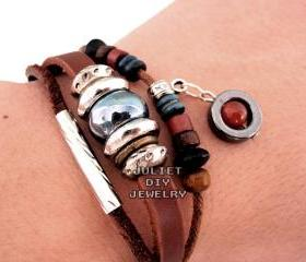Genuine leather bracelet with beautiful ceramic bead, size adjustable 