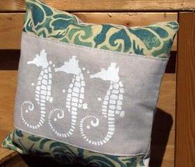 Decorative throw pillow cushion cover with screen print white sea horses beach shabby chic theme
