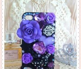 Free shipping - Big rose, rhinestones, mirror Iphone case for 4/4S (back only) - black / purple