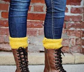 Boot Cuffs, Leg Warmers, Boot Toppers, Mustard, Choose A Color