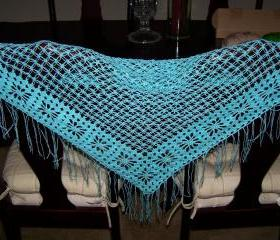 Triangular Hand crocheted Shawl/Wrap/Neckwarmer/Cowl/Scarf