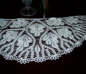 White Hand Crocheted Shawl/Wrap/Scarf/Cowl