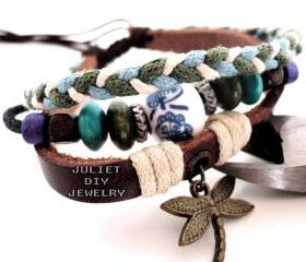 Dragonfly charm bracelet from genuine leather and hemp cord woven