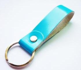 Turquoise Blue Gross Genuine Leather Key Fob/Key Keeper/Key Holder/Key Ring - Gift under 10