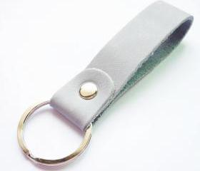 Gray Genuine Leather Key Fob/Key Keeper/Key Holder/Key Ring - Gift under 10