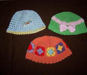 Set of three hand made baby hats