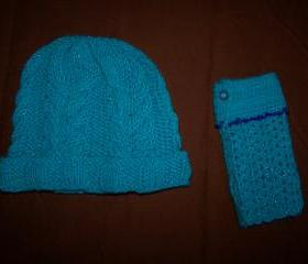 Hand Crocheted Set of Hat and fingerless Gloves